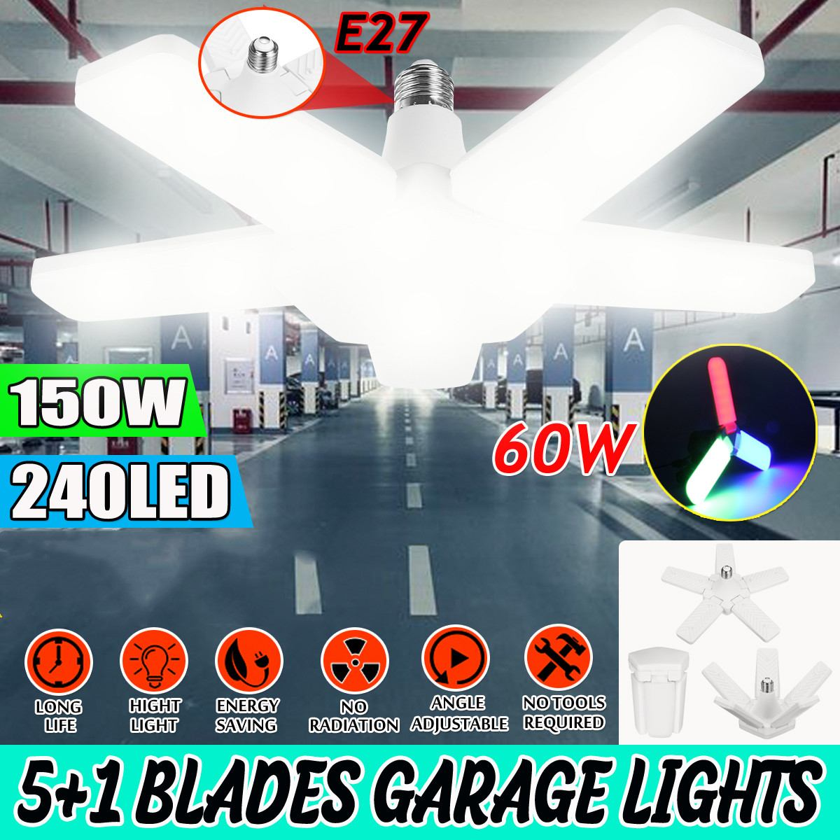 E27 Led Fan Garage Lamp Six / Three Leaf Garage Light Deformable Ceiling Light Fixture Lamp Industrial Lamp High Bay Led Light