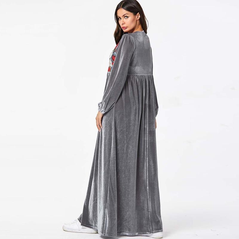 Velvet Abaya Turkey Islamic Arabic Long Muslim Dress Caftan Kaftan Tesettur Elbise Hijab Dresses Vestidos Robe