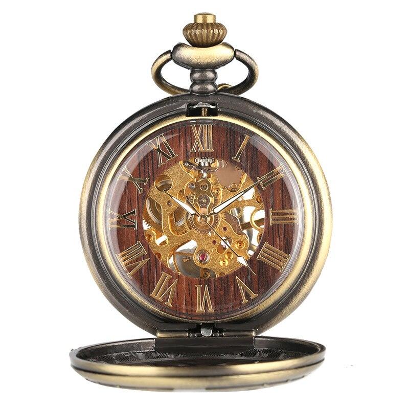 mecânico numerais romanos display pingente corrente fob relógio presentes para homens