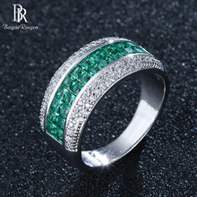 Bague Ringen 5 Colors Choices Gemstones Ring for Women Silver 925 Jewelry Luxury Design Green Pink Blue Rainbow Female Party