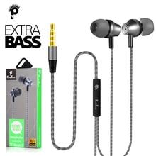 PunnkFunnk מתכת Wired אוזניות 1.2M עמוק בס סטריאו ספורט ב אוזן headphoneW/בקרת עצמת מיקרופון עבור Samsung iphone 5 6 7 8 11