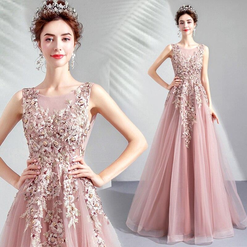 Élégant Rose Longue Formelle Robes de Soirée Dentelle Appliques Perles 2019 Nouvelle Mode Mariée Robe De Bal De Soirée DC03S