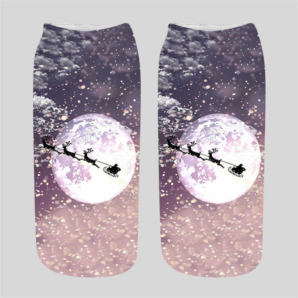 Unisex meias de natal engraçado 3d moda impresso meias bonito baixo corte tornozelo meias unisex feminino dos desenhos animados bonito papai noel boneco de neve sox