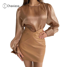 Slim Skirt Mini Dress Stretch Sexy High-Waist Women Package CHAXIAOA Solid for X340 Autumn