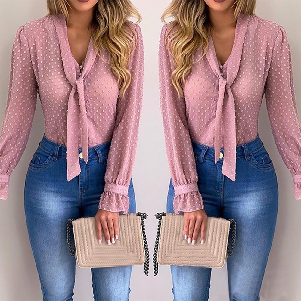 Women New Fashion Elegant Chiffon Blouses Long Sleeve V-Neck Shirt Office Blouse Slim Casual Female Polka Dot Top
