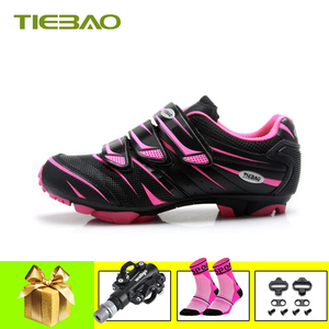 Tiebao women cycling shoes sapatilha ciclismo mtb SPD pedals Sneaker breathable self-locking riding bicycle Female mtb shoes(China)