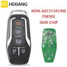Él Xiang llave de Control remoto de coche para Ford Fusion Explorer borde Mustang 2013-2017 FCCID M3N-A2C31243300 FSK902 ID49 Promixity