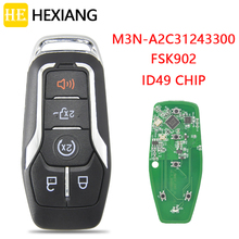 HE Xiang Car Remote Control Key For Ford Fusion Explorer edge Mustang 2013-2017 FCCID M3N-A2C31243300 FSK902 ID49 Promixity