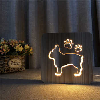 Mabor Creative Wooden Dog Paw Lamp Kids Bedroom Decoration Warm Light French Bulldog LED USB Night Light - DISCOUNT ITEM  30% OFF All Category