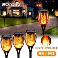96LED Solar llama antorcha luz parpadeante IP65 impermeable lámpara de jardín para césped lámpara de calle para jardín Decoración de paisaje de césped camino