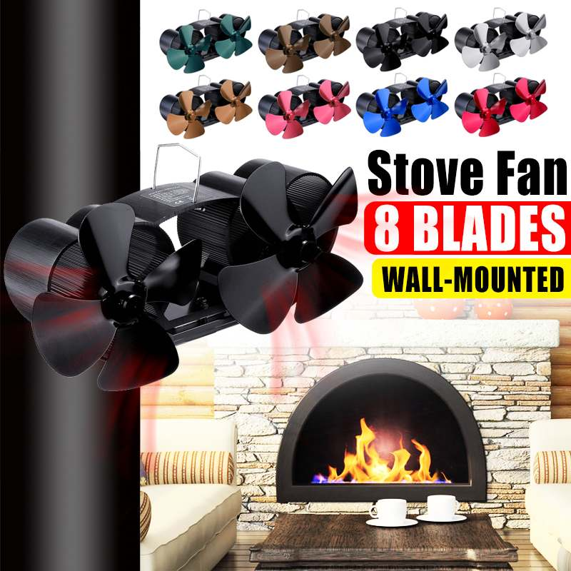 Dual Head Wall Mounted Stove Fan 8 Blade Fireplace Fan Heat Powered Komin Wood Burner Eco Fan Home Efficient Heat Distribution