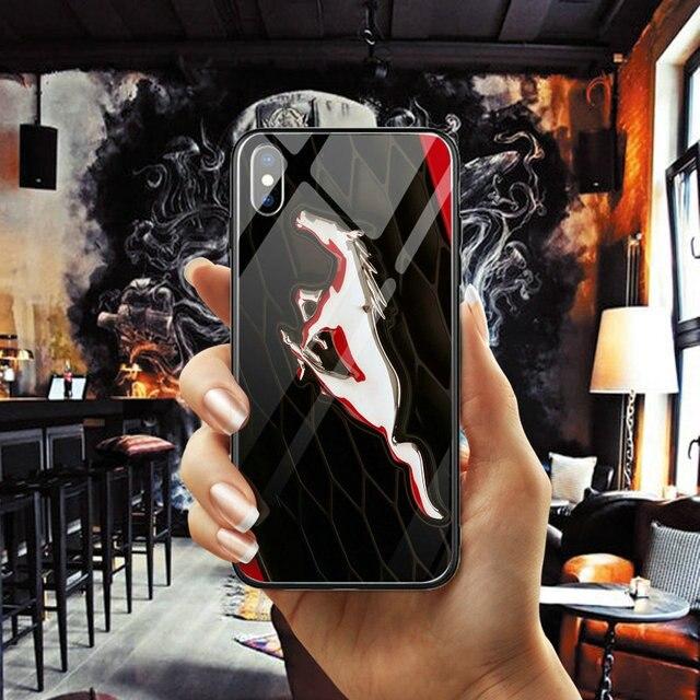 Ford Mustang Logo Verre Trempé Téléphone étuis de téléphones portables pour iPhone X XR XS 11 Pro Max 6 6s 7 8 Plus Coque Coque