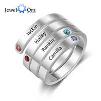 Personalized Stainless Steel Stackable Rings for Women Engrave Name Ring with 4 Birthstones Custom Family Gift (RI103803)