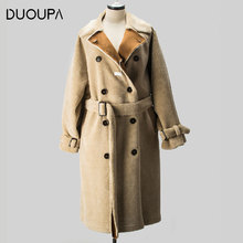 DUOUPA 2019 New Fashion Faux Fur Grain Velvet Coat Long Loose One Large Size Womens Windbreaker Jack