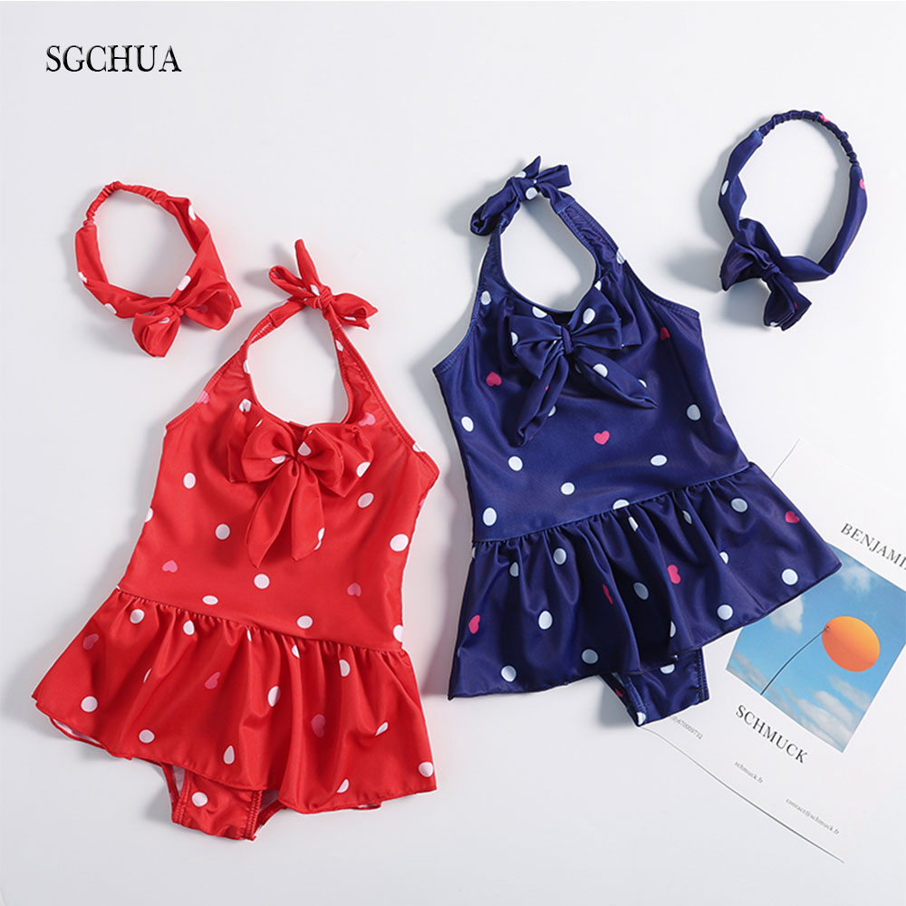 SGCHUA 2020 New Print Dot Red Blue One Piece Swimsuit Baby Girl Bow Swimwear With Skirt Children Beach 2XL Bathing Suit Kids