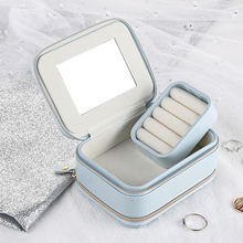 Multi-Function Earrings Ring Container Case Makeup Packing Organizer Jewelry Casket Cosmetic Storage Box  Portable Leather new arrive hot 2pc set portable jewelry box make up organizer travel makeup cosmetic organizer container suitcase cosmetic case