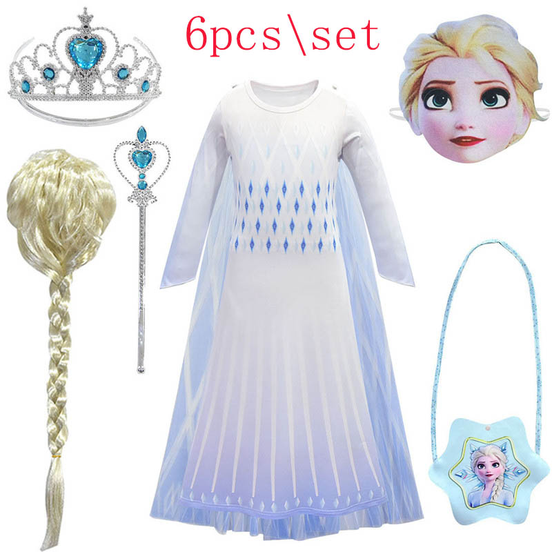 Anna Elsa Dress For Girls Cosplay Carnival Costume Kids Dresses For Girl Birthday Party Dress Children Snow Queen Princess Dress