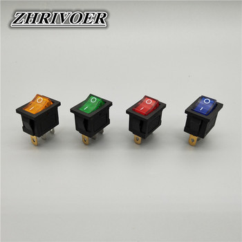 цена на 5Pcs KCD1 3Pin LED Light Boat Car Rocker Switch 6A/10A 250V/125V AC Red Yellow Green Blue 110V 220V