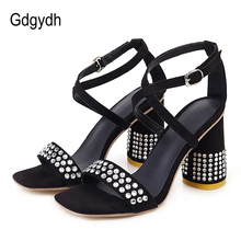 цены Gdgydh Fashion Crystal Black Suede Ladies Party Shoes Round Heels Ankle Strap Pink Yellow Women Sandals Summer Shoes Party Dress