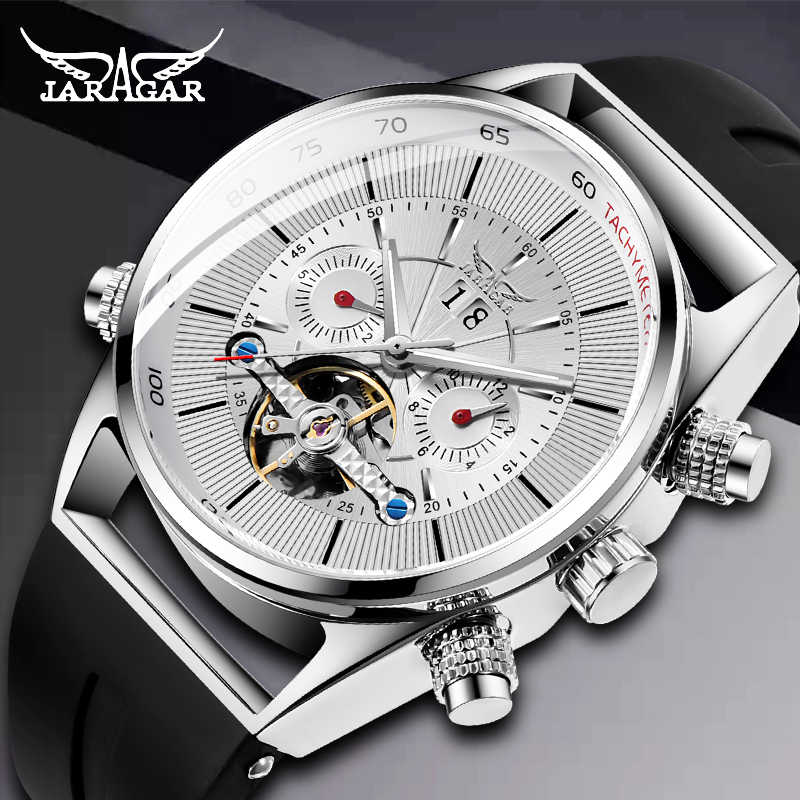 JARAGAR メンズ腕時計機械式トゥールビヨンの高級ファッションブランド男性スポーツ腕時計男性腕時計自動レロジオ Masculino
