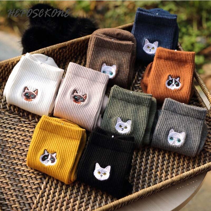 Japanese Harajuku Warm Cute Animal Funny Socks Women Kawaii Novelty Embroidery Cotton Socks Skarpetki Calcetines Mujer Sokken