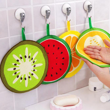 Home 1Pcs Hanging Kitchen Absorbent Wipes Hand Towels Bathroom Quick-drying Cute Fruit Printed Dish Cloths Napkins Cleaning Wipe