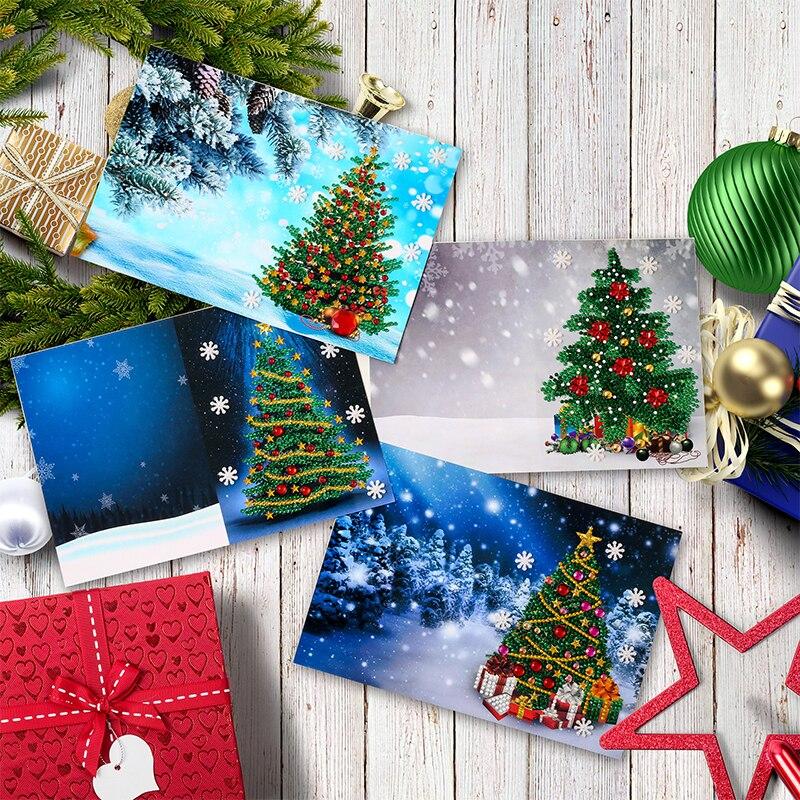 5D DIY Алмазная картина поздравительная открытка специальная форма Рождественская Алмазная вышивка открытки подарок на день рождения Рождес...