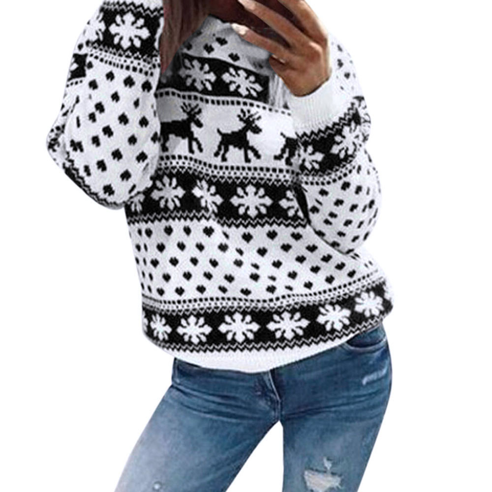 Winter O-neck Blouse Women 2019 New Christmas Xmas Knitted Pullover Female Floral Dot Print Long Sleeve Jumper Blouse