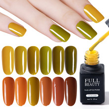 6 Ml Autumn Maple Daun Warna Kuku Gel Polandia Labu Mustard Hijau Murni Uv Gel Lacquer DIY Bahasa Polandia Mantel Kuku desain Seni LYNG01-06(China)