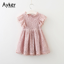 Girl Dresses Children Clothes Short Sleeve Kids Children Casual Birthday Party Pink Lace Dress Baby Girl Sweet Cute Dresses цена