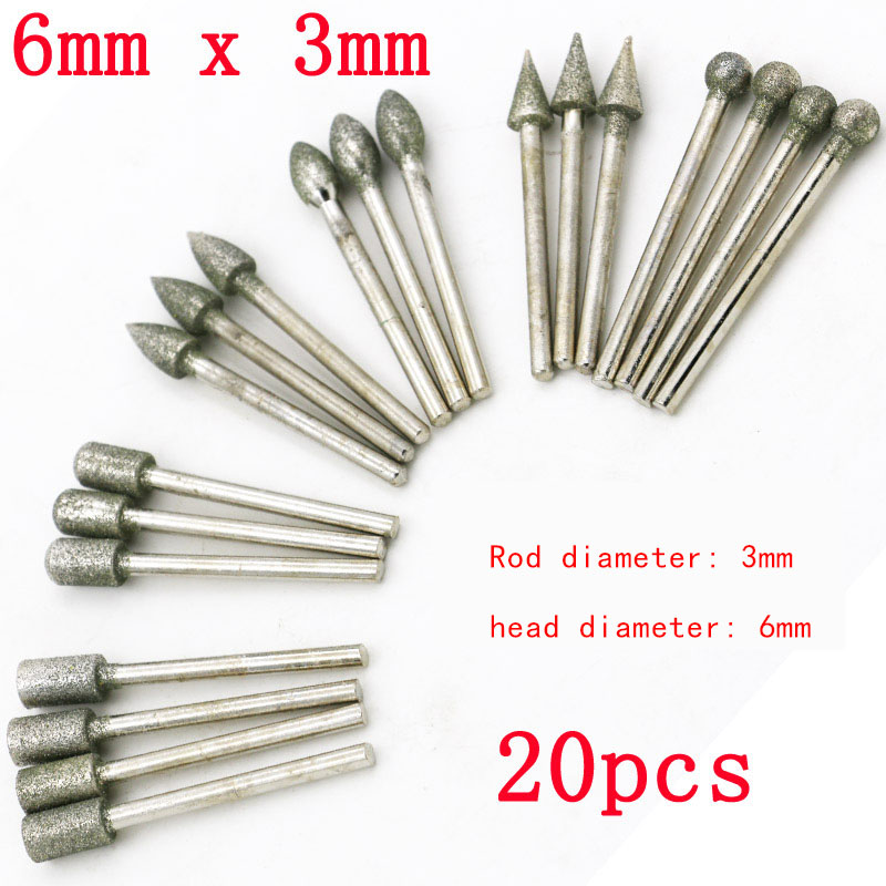 20/Pcs 3mm Grinding Cutting Head Drill Bits Shank Diamond Dremel Rotary Carving Polishing Tool Sets
