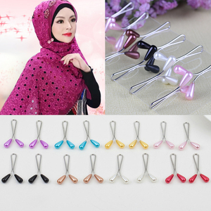 New 12 pcs Water Drop Arabic Muslim Epingle Hijab Pins For Scarf Pearl Clip Pin Headscarf Shawl Scarf Accessories Lady Clips