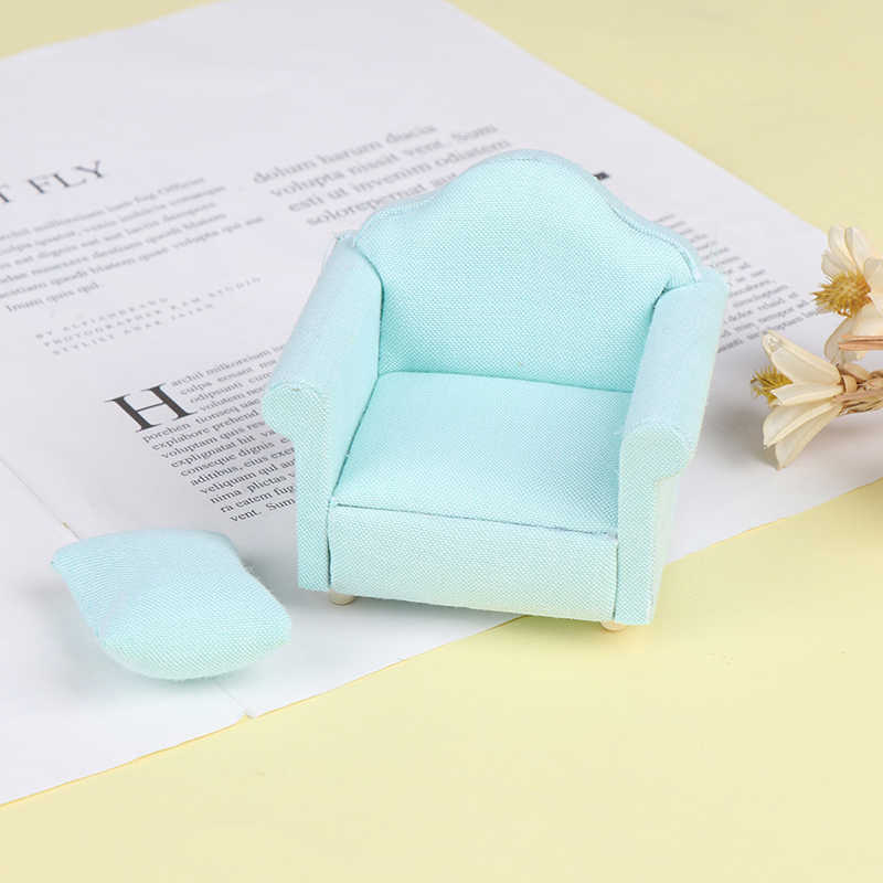 1/12 Rumah Boneka Miniatur Warna Hijau Sofa Set Perabot Ruang Keluarga untuk Anak-anak Hadiah Simulasi Sofa Berpura-pura Bermain Mainan