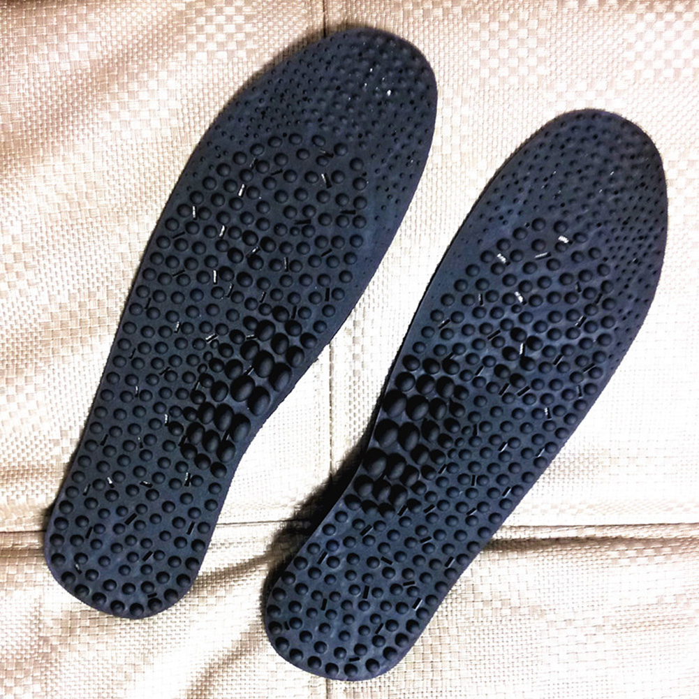 Foot Care Health Plastic Breathable Massage Insole Inserts Acupressure Orthotic Unisex Therapy Pads Black Shoe Negative Ion