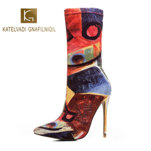 KATELVADI 12.5CM Heels Women Ankle Boots Print Cotton Fabric Catwalk Show Sexy Party Winter Autumn K-565