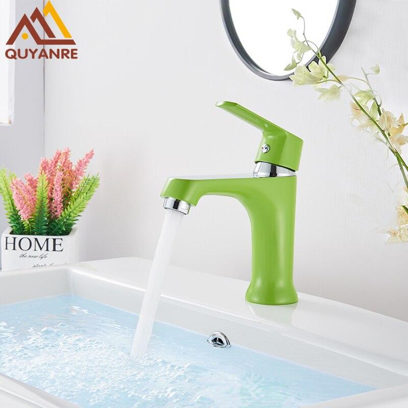 Quyanre Orange Green Bathroom Basin Faucets Shower Basin Crane Tap Single Handle Single Hole Bathroom Mixer Faucet Waterfall Tap
