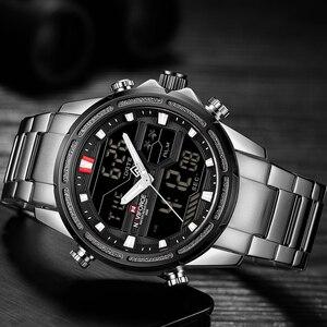 Image 4 - NAVIFORCE montre de luxe pour hommes, en acier, bracelet militaire, numérique de sport, étanche, à Quartz