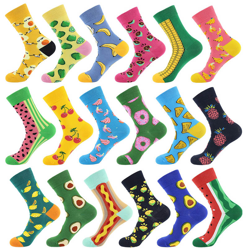 Unisex Socks Funny Cute Cartoon Fruits Banana Avocado Egg Cookie Donuts Food Happy Japanese Harajuku Skateboard Socks Women