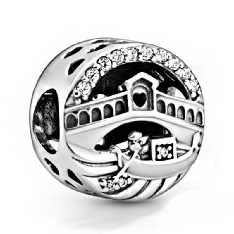Original Vintage Openwork Venice Rialto Bridge Beads Fit 925 Sterling Silver Charm Bracelet Bangle Diy Jewelry