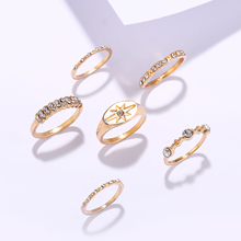2019 Hot Unique Ring Bohemian Elephant Star  Rings Set Gold Crystal Knuckle Finger Midi For Women Jewelry