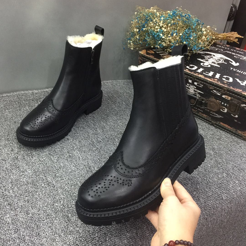 British Stylish Style Shoes For Women Winter Warm Wool Boots Lady Natural Leather Female Heeled Booties Big Size 16