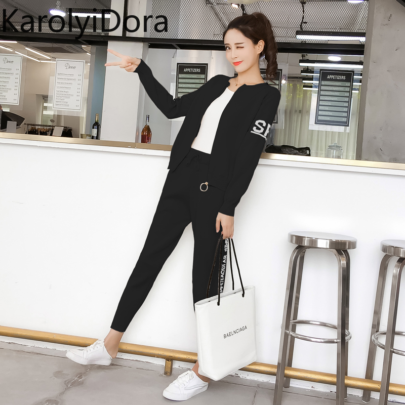 Women's suit 2020 Spring and autumn new fashion knit sweater sports suit women's cardigan thin casual pants 2 piece set women 3