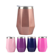 Hot sale 350ml Bpa-free Stainless steel auto Vacuum flask diamond tea milk red wine cup Portable Insulated travel coffee mug