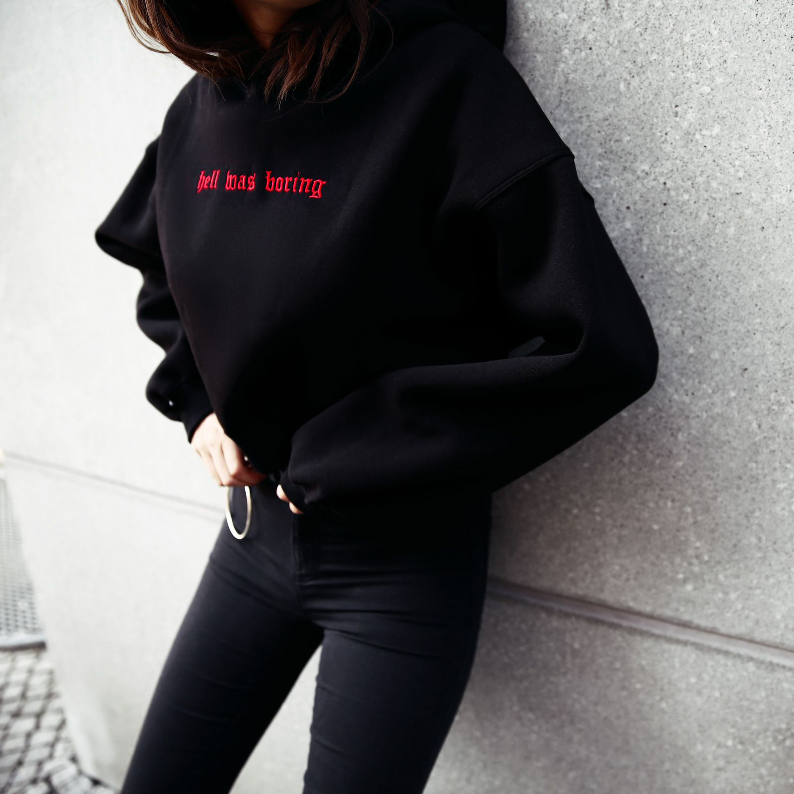 Hell Was Boring Letter Print Hoodie Woman Hooded Sweatshirts Women Funny Tumblr Long Sleeve Pullovers Hoodies