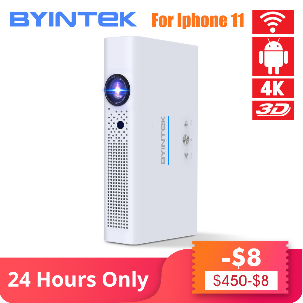 BYINTEK marque UFO R19 300 pouces 3D intelligent Android WIFI vidéo LED Portable Mini HD DLP projecteur pour Full HD 1080P HDMI 4K Iphone 11