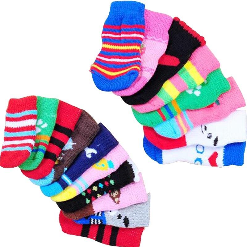 Dog Socks Non Slip Pet Dog Shoes Soft Teddy Poodle Knit Socks Warm Dog Cat Socks Comfortable Pet Supplies 4pcs/set S M L XL Size