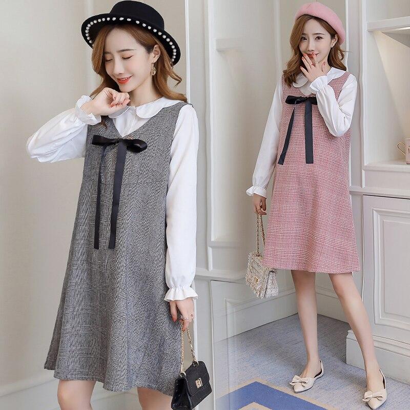 6596# 2PCS/Set Autumn Korean Fashion Maternity Dress Sweet Lovely Straight Loose Clothes For Pregnant Women Fall Pregnancy