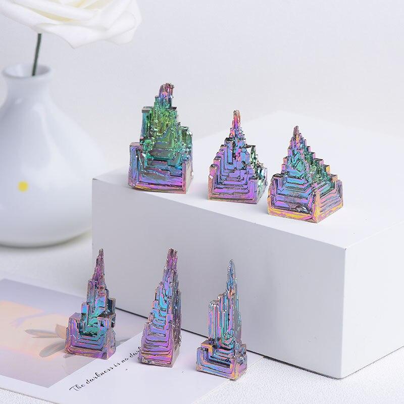 100% Natural Metal Quartz Pyramid Bismuth ore Quartz Gemstone Reiki Healing Stone Home Decoration Raw Crystals