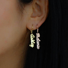 Personalized Vertical Name Earrings For Women Dangle Earring Sideway Stainless Steel Custom Fashion Jewelry