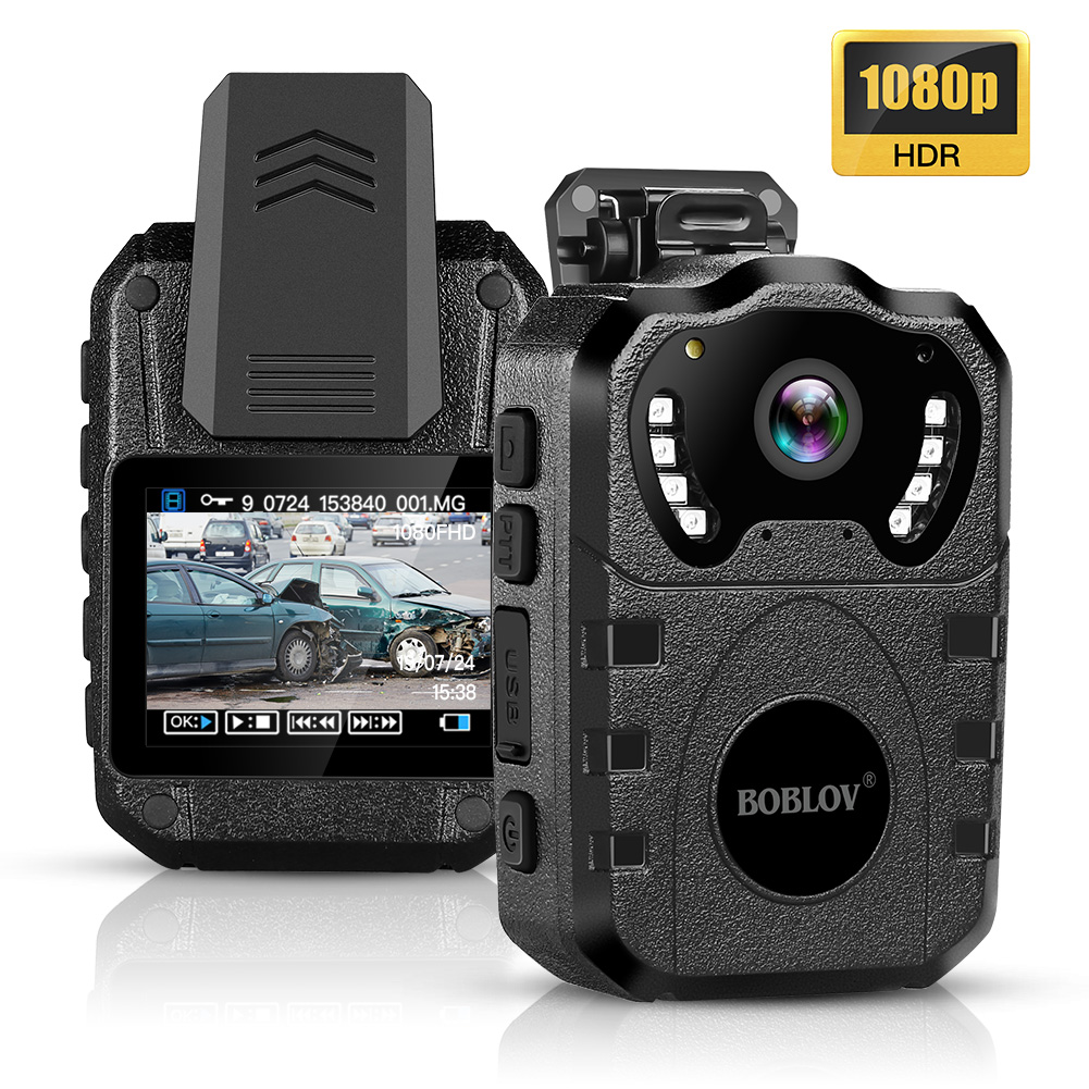 BOBLOV WN10 1080P HD Body Cam Portable IR Night Vision Police Camera 175 Degree Security 64GB Mini Camera DVR Video Recorder